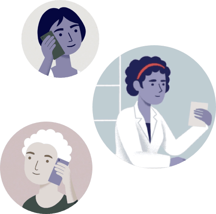 Illustrations of caregivers calling and connecting via the phone
